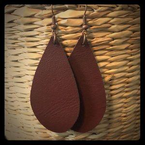 Handmade brown leather teardrop earrings